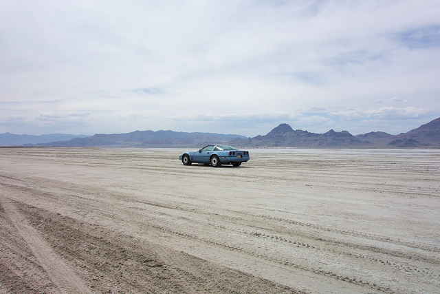 Lauren on the Bonneville Salt Flats.