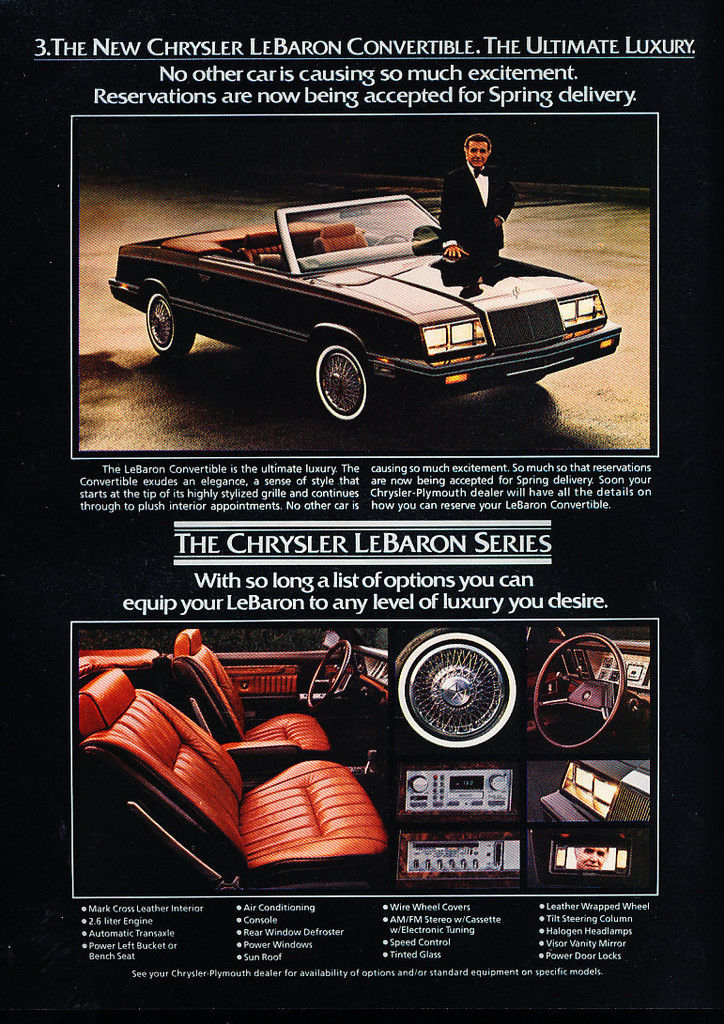 1982 Chrysler LeBaron convertible advertisement.