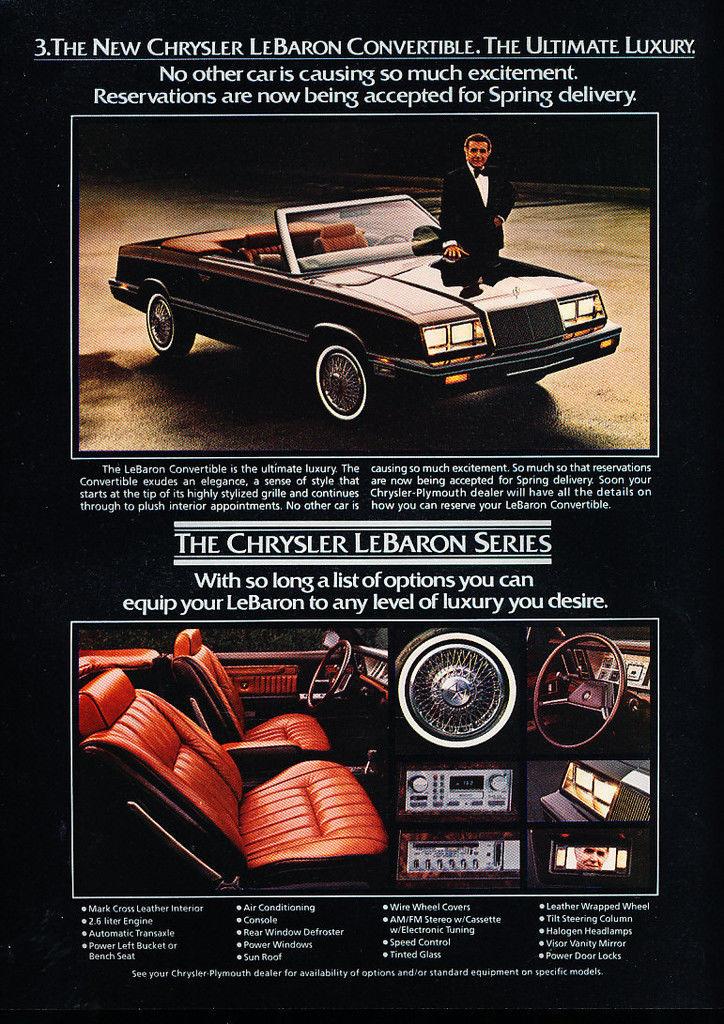 1982 Chrysler LeBaron convertible advertisement.