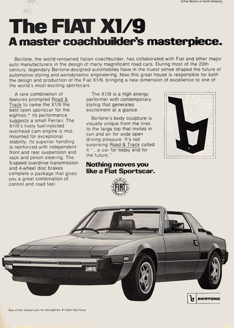 1982 Fiat X19 Coupe Eighties Cars