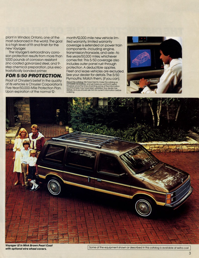 Page from the 1984 Plymouth Voyager brochure