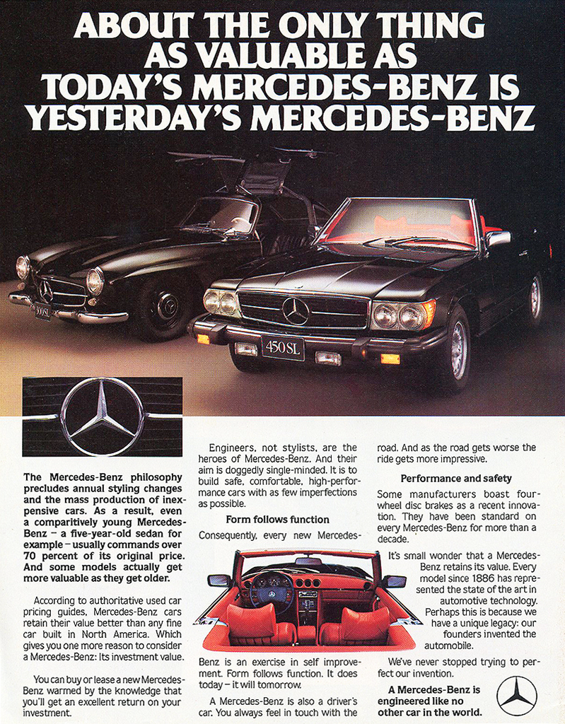 1980 Mercedes-Benz 450SL advertisement