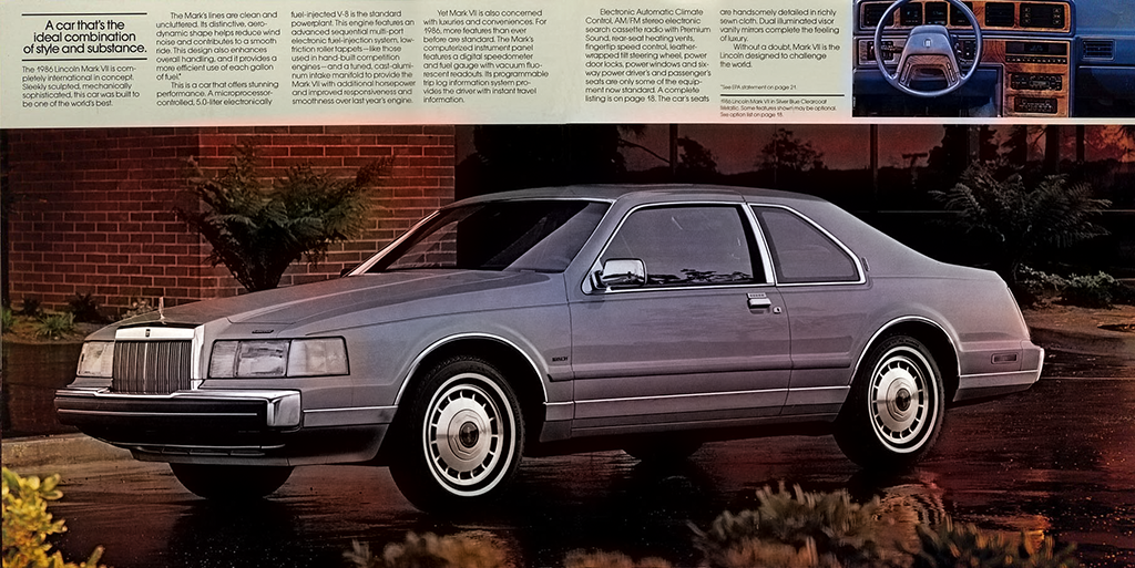 1986 Lincoln Mark VII brochure pages