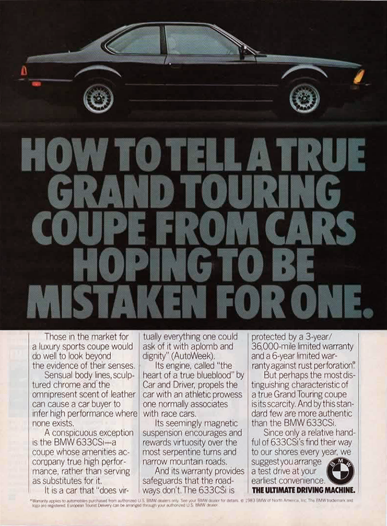 1983 BMW 633CSi advertisement