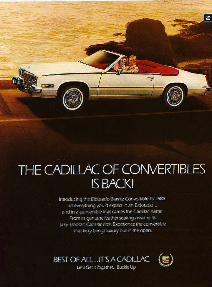 1984 Cadillac Eldorado convertible advertisement